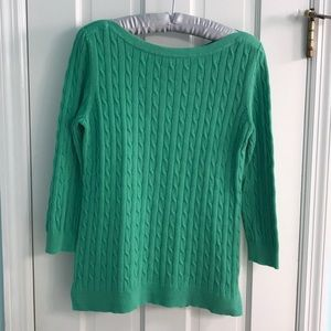 ⭐️ GAP green ballet neck cable knit sweater